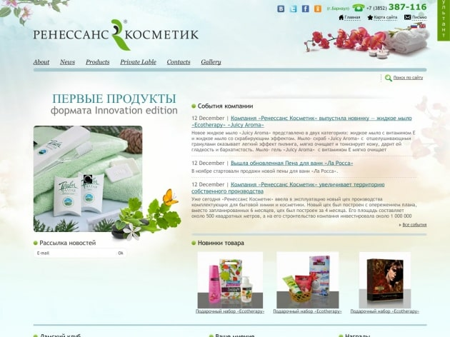 Поддержка и развитие сайта компании Ренессанс Косметик